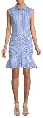 Flounce Hem Stripe Shirt Dress