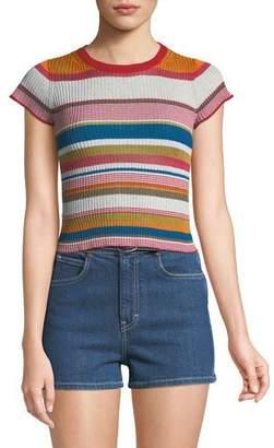 Rag & Bone Katie Striped Short-Sleeve Cropped Tee