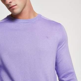 River Island Purple slim fit crew neck sweater