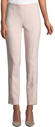 Michael Kors Side-Zip Stretch-Pebble Crepe Narrow-Leg Pants