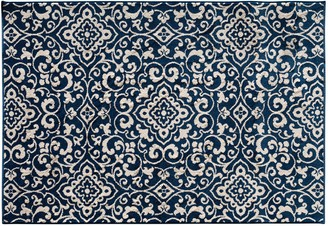 Blue Area Natco Terrace Tropic McBee Scroll Indoor Outdoor Rug