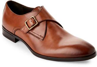 Bruno Magli Cognac Regale Leather Monk Strap Shoes