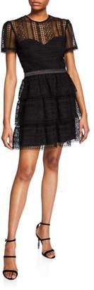 Bardot Ava Crewneck Short-Sleeve Tiered Lace Illusion Dress