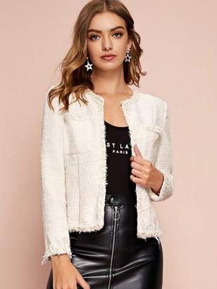 Shein Pearl Beaded Frayed Edge Open Front Tweed Jacket
