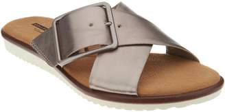 Clarks Leather Cross Band Buckle Slides - Kele Heather