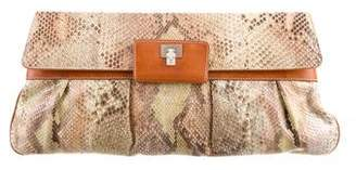 Lambertson Truex Python Leather-Trimmed Clutch