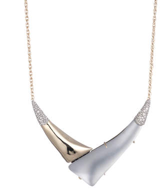 "Alexis Bittar Liquid Gold With Crystal Accent ""V"" Shaped Pendant Necklace"