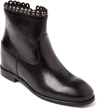 D+ Black Eyelet Trim Leather Ankle Boots