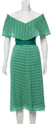 Lela Rose Pleated Crepe Dress