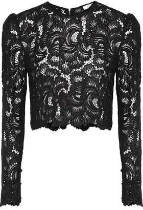 A.L.C. Talia Cropped Scalloped Corded Lace Top