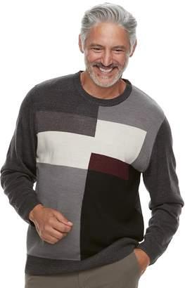 Haggar Men's Classic-Fit Colorblock Fine-Gauge Crewneck Sweater