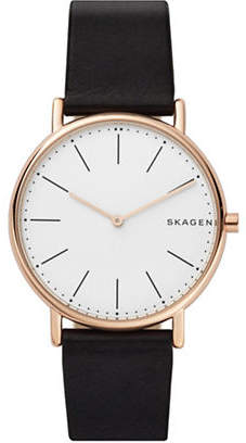Skagen Signatur Goldtone Titanium Black Leather Strap Watch