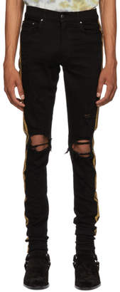 Amiri Black and Gold Glitter Track Jeans