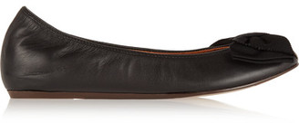 Lanvin - Bow-embellished Leather Ballet Flats - Black $550 thestylecure.com