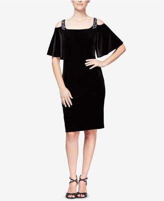 Alex Evenings Velvet Cold-Shoulder Dress