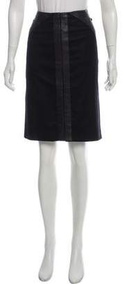 Chanel Leather-Accented Wool Skirt