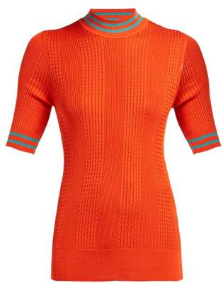 Fendi High Neck Silk Knit Top - Womens - Orange Multi