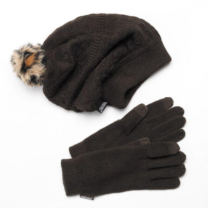 Muk Luks beanie hat & touch gloves set