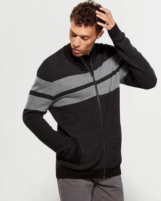 Calvin Klein Wool-Blend Striped Zip Sweater