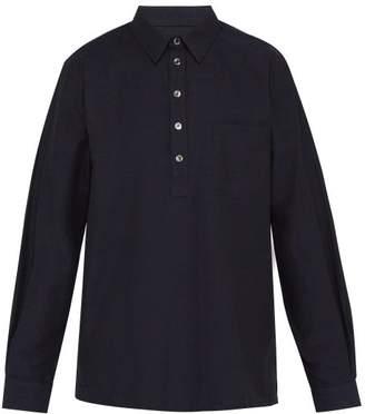 A.P.C. Luke Half Button Cotton Shirt - Mens - Navy