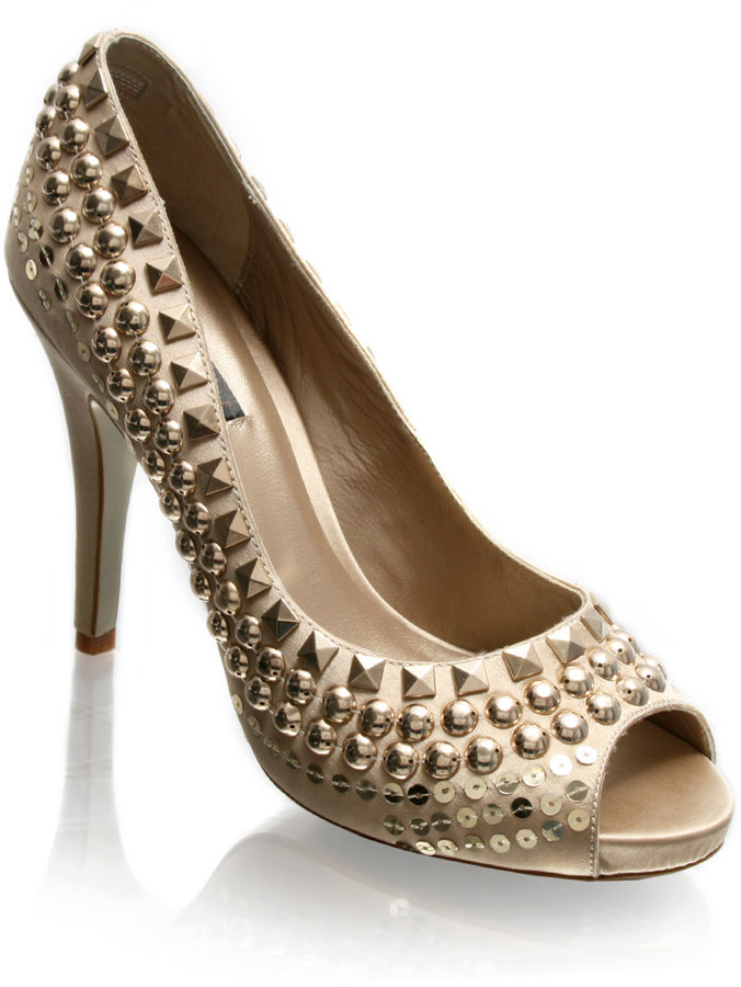 ASOS LUXE Stud And Sequin Peep Toe Platform Shoes
