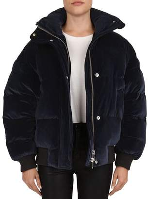 The Kooples Velvet Quilted Puffer Jacket