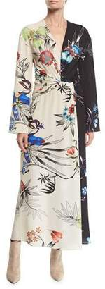 Etro Long-Sleeve Floral-Print Bi-Color V-Neck Shirred Wrap Dress