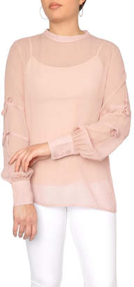 Just Female Sheer Pink Blouse