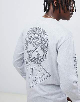 Diamond Supply Co. Fasten Long Sleeve T-Shirt With Skull Back Print In Gray