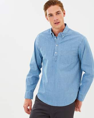J.Crew Stretch Chambray Pop-Over Shirt