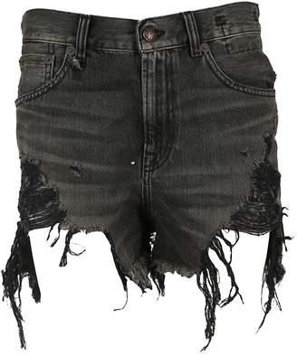 R 13 Distressed Ripped Denim Shorts