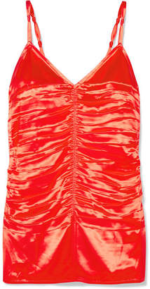 Helmut Lang Ruched Satin Camisole - Orange