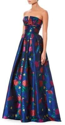 Carolina Herrera Floral Jacquard Strapless Bustier Gown