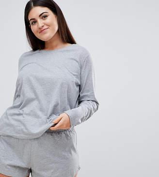 Asos Design Curve Mix & Match Long Sleeve Pyjama Tee