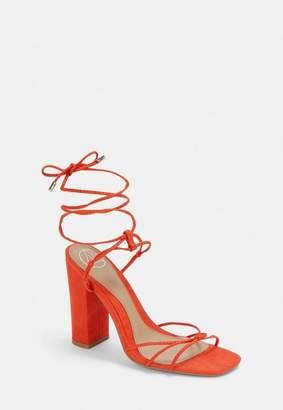 Missguided Orange Block Heel Strap Tie Heeled Sandals