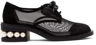 Nicholas Kirkwood Casati Pearl Heeled Mesh Derby Shoes - Womens - Black