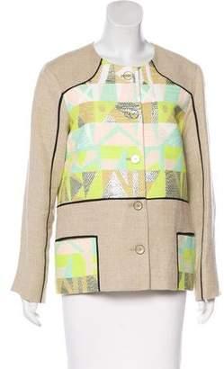 Lela Rose Linen-Blend Woven Jacket