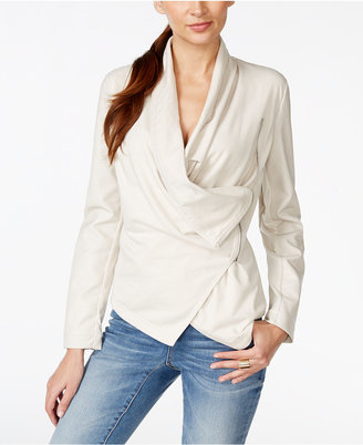INC International Concepts Draped Faux-Leather Mixed-Media Jacket, Only at Macy's $99.50 thestylecure.com