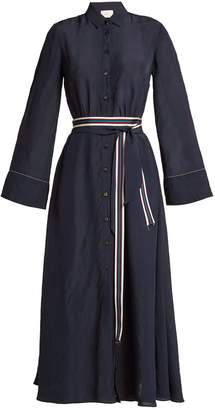 ON THE ISLAND Striped double-belt dress