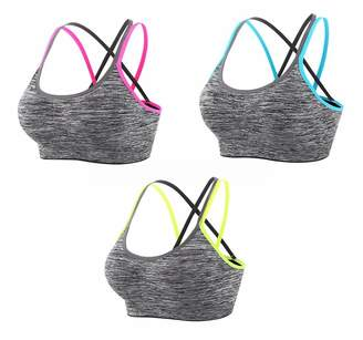 INIBUD Sports Bra Women's 1 Pack Cross-Back Padded Strappy Bra (, S)