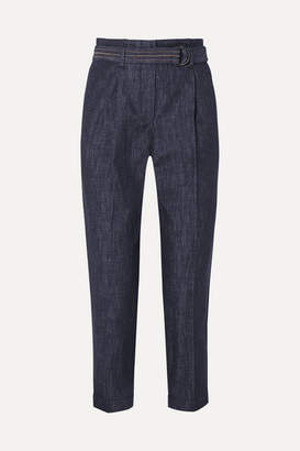 Brunello Cucinelli Belted Cotton-chambray Tapered Pants - Blue