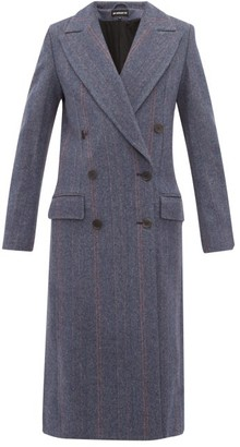 Ann Demeulemeester Double Breasted Wool Blend Coat - Womens - Blue