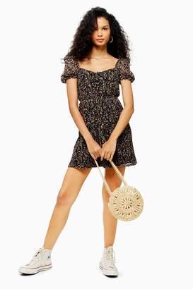 Topshop Womens Print Lace Tea Dress - Black