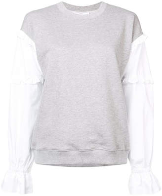 Derek Lam 10 Crosby Ruffle Sweatshirt with Contrast Sleeves