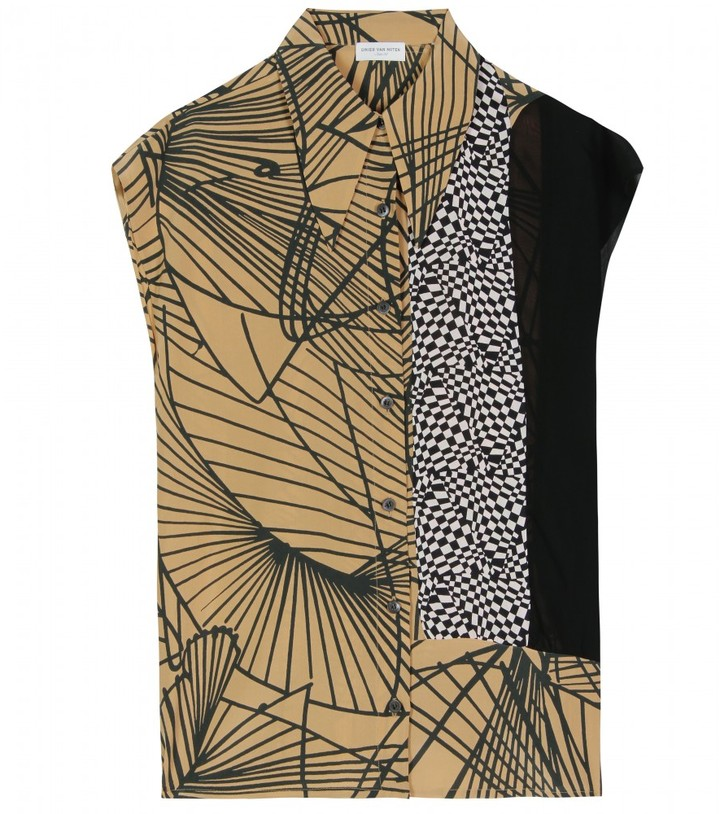 Dries Van Noten CACEY CONTRAST PRINT BLOUSE