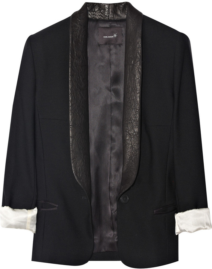 Isabel Marant Fulber leather-trimmed wool blazer