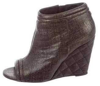 Chanel Peep-Toe Wedge Booties
