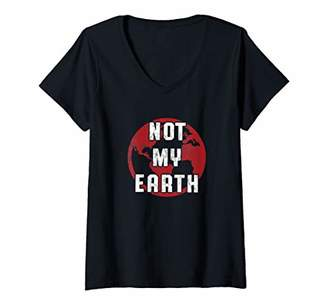 Womens Flat Earth Not My Earth Government Conspiracy V-Neck T-Shirt