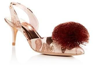 Ted Baker Women's Mikali Slingback Pom-Pom Kitten-Heel Pumps