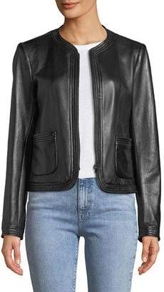 Rebecca Taylor Collarless Zip-Front Leather Moto Jacket